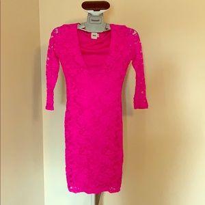 Hot pink lace midi dress
